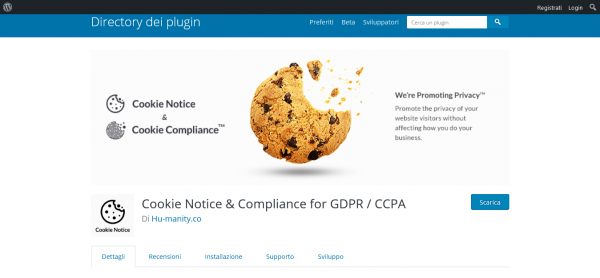 schermata del plugin cookie notice compliance for GDPR CCPA